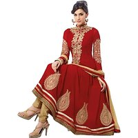 Varanga Exclusive Suits Red Georgette Anarkali Semi Stitched Dress Material Sau2111