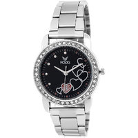 Fogg Round Dial Silver Metal Analog Watch For Women
