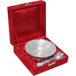 decorifyMe Gift Set of 2pcs Silver Plated Bowl with Spoon Engraved in a Velvet G