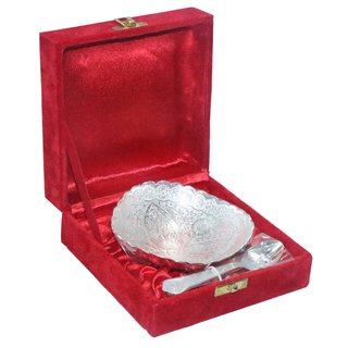 decorifyMe Gift Set of 2pcs Silver Plated Spoon and dry fruit Bowl Engraved in a