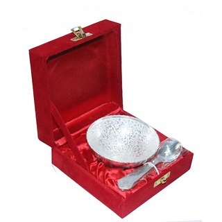 decorifyMe Gift Spoon and Round Bowl Set Silver Plated