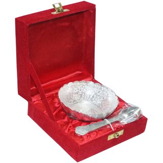 decorifyMe Diwali Giftsets Round Bowl and Spoon Set Silver Plated
