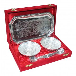 decorifyMe 5pc Set including 2Bowls Engraved plus Tray Engraved and 2Spoons Silv