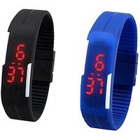 Digital LED Band Watch For Kids Combo (Blue + Black) By Dil2Deal