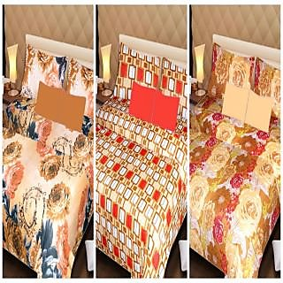 Akash Ganga Beautiful Combo of 3 Double Bedsheets with 6 Pillow Covers (AGK02)