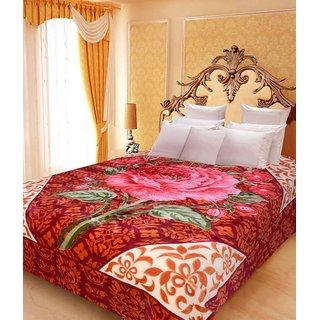 Akash Ganga Floral Double Bed Mink Blanket (BDK25)