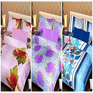 Akash Ganga Beautiful Combo of 3 Double Bedsheets with 6 Pillow Covers (AGK01)