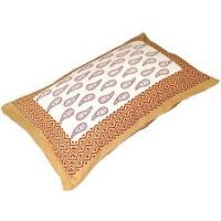 Yellow  White Cotton Pillow Covers 11 X 16 Inches (Combo Of 2)