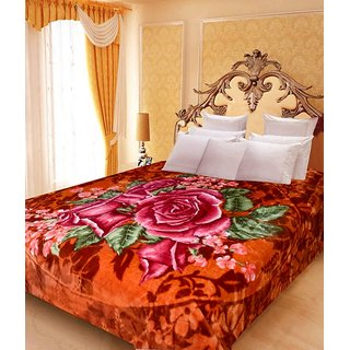 Akash Ganga Floral Double Bed Mink Blanket (BDK30)