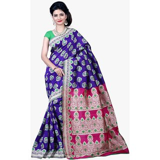 Indi Wardrobe Blue Silk Saree