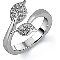 Om Jewells Sterling Silver Twin Leaf ring with CZ stones for Women FR7000512