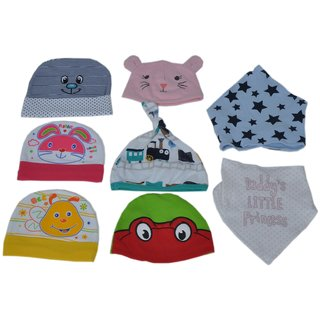 Sonpra Baby Cotton  Bibs Caps Combo- Born Baby Set