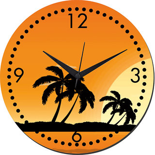 Mesleep Palm Wall Clock With Glass Top