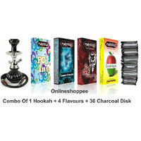 Mahroosh Designer Hookah Combo Pack Of 1 Black Hookah With 4 Flavours And 36 Coal Disk