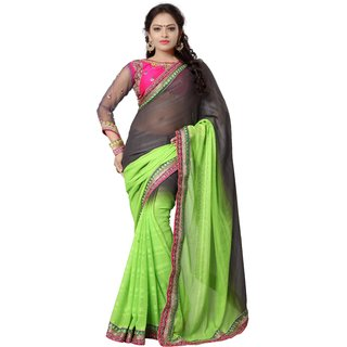 Avf Jacquard Saree - Grey And Green