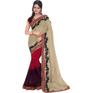 Avf Printed And Embroided Saree - Cream And Red