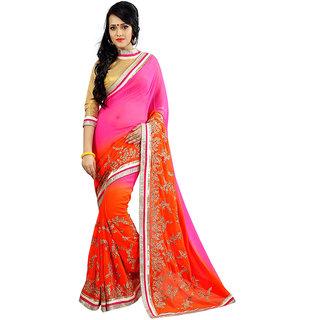 Avf Embroided And Zari Work Saree - Orange And Pink