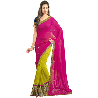 Avf Embroided Saree - Pink And Light Green