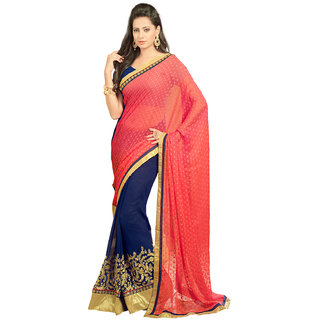 Avf Embroided Saree - Peach And Dark Blue