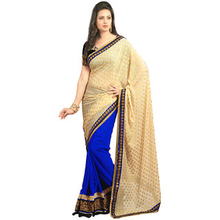 Avf Embroided Saree - Cream And Dark Blue