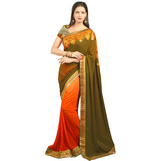 Avf Embroided Saree - Mehndi And Orange