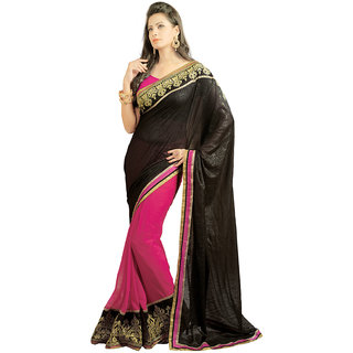 Avf Embroided Saree - Black And Pink