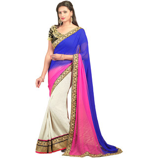 Avf Embroided Saree - Blue And White