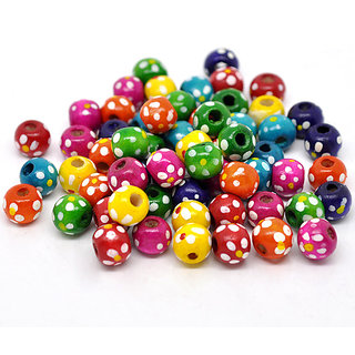 Random Mixed Dyed Dot Round Wood Spacer Beads 10x9mm  Per Packet Contains 40 Nos