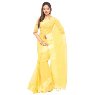 Yellow color Traditional bangal Tant Cotton saree  with golden Zori Broder and u