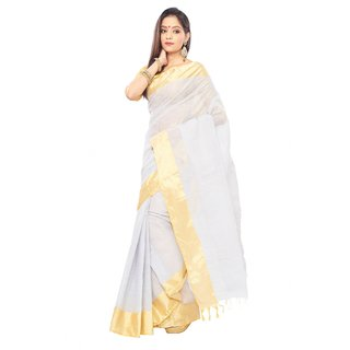 Silver color Traditional bangal Tant Cotton saree  with golden Zori Broder and