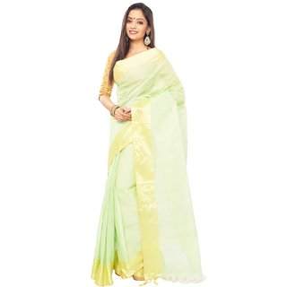 Green Color Traditional bangal Tant Cotton saree  with golden Zori Broder and u