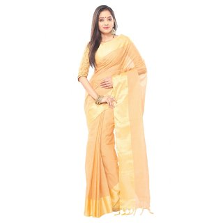 Peru Brown color Traditional bangal Tant Cotton  saree  with golden Zori Broder