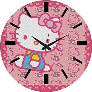 Mesleep Kitty Wall Clock With Glass Top