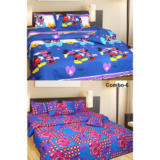 Akash Ganga Combo of 2 Double Bedsheets with 4 Pillow Covers