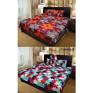 Akash Ganga Beautiful Combo of 2 Double Bedsheets with 4 Pillow Covers