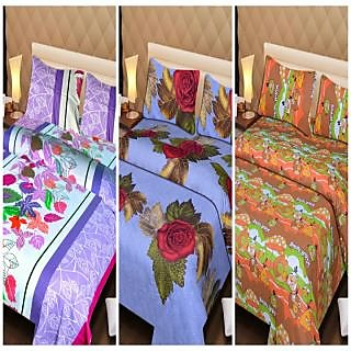 Akash Ganga Beautiful Combo of 3 Double Bedsheets with 6 Pillow Covers (AGK03)