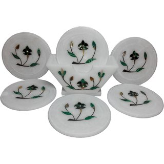 Coaster Set Marble Inlay Semi Gems Stone