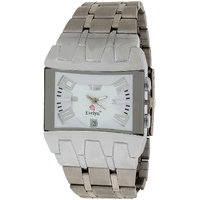 Evelyn Rectangle Dial Silver Metal Strap Quartz Watch For Men