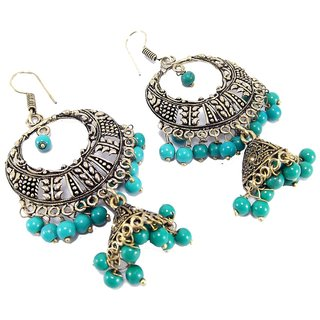 Party wear meenakari work green beads oxidized dangledrop earring