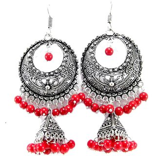 Party wear meenakari work red beads oxidized dangledrop earring