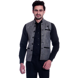 Calibro Grey Valvet Nehru Jacket