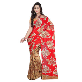 Aaina Red & Beige Faux Georgette Printed Saree