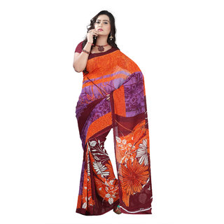 Aaina Orange & Purple Faux Georgette Printed Saree