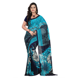 Aaina Blue & Black Faux Georgette Printed Saree