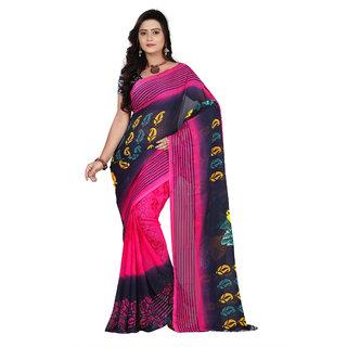 Aaina Pink & Black Faux Georgette Printed Saree