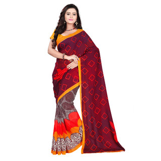 Aaina Maroon & Orange Faux Georgette Printed Saree