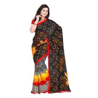 Aaina Black Faux Georgette Printed Saree