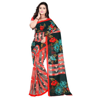Aaina Black & Red Faux Georgette Printed Saree