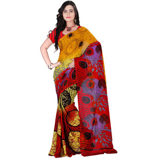 Aaina Red & Yellow Faux Georgette Printed Saree