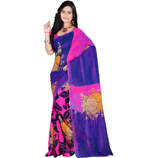 Aaina Blue & Pink Faux Georgette Printed Saree